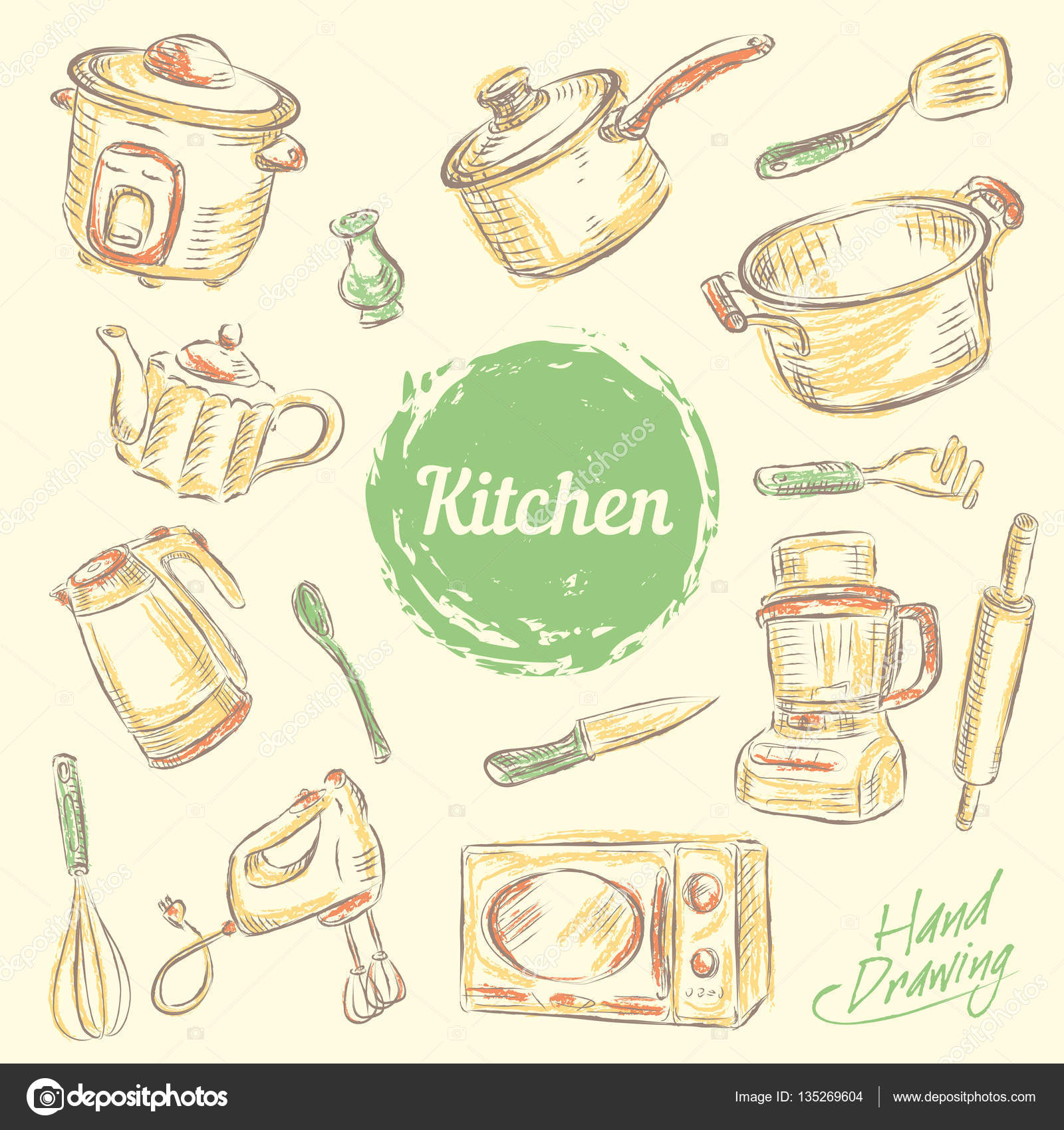 Mano dibujar colecci n de utensilios de cocina for Utensilios de cocina vintage