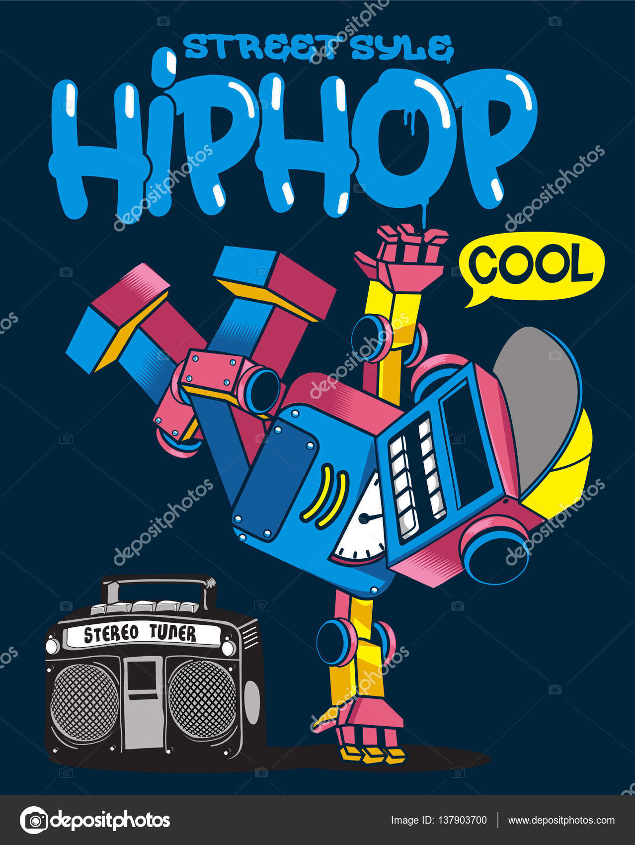 Pattern With Cartoon Character Of Robot Dancing Hip Hop On Dark Blue Background Vector By Braingraphstudio