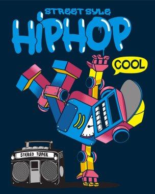 cartoon character of robot dancing Hip Hop