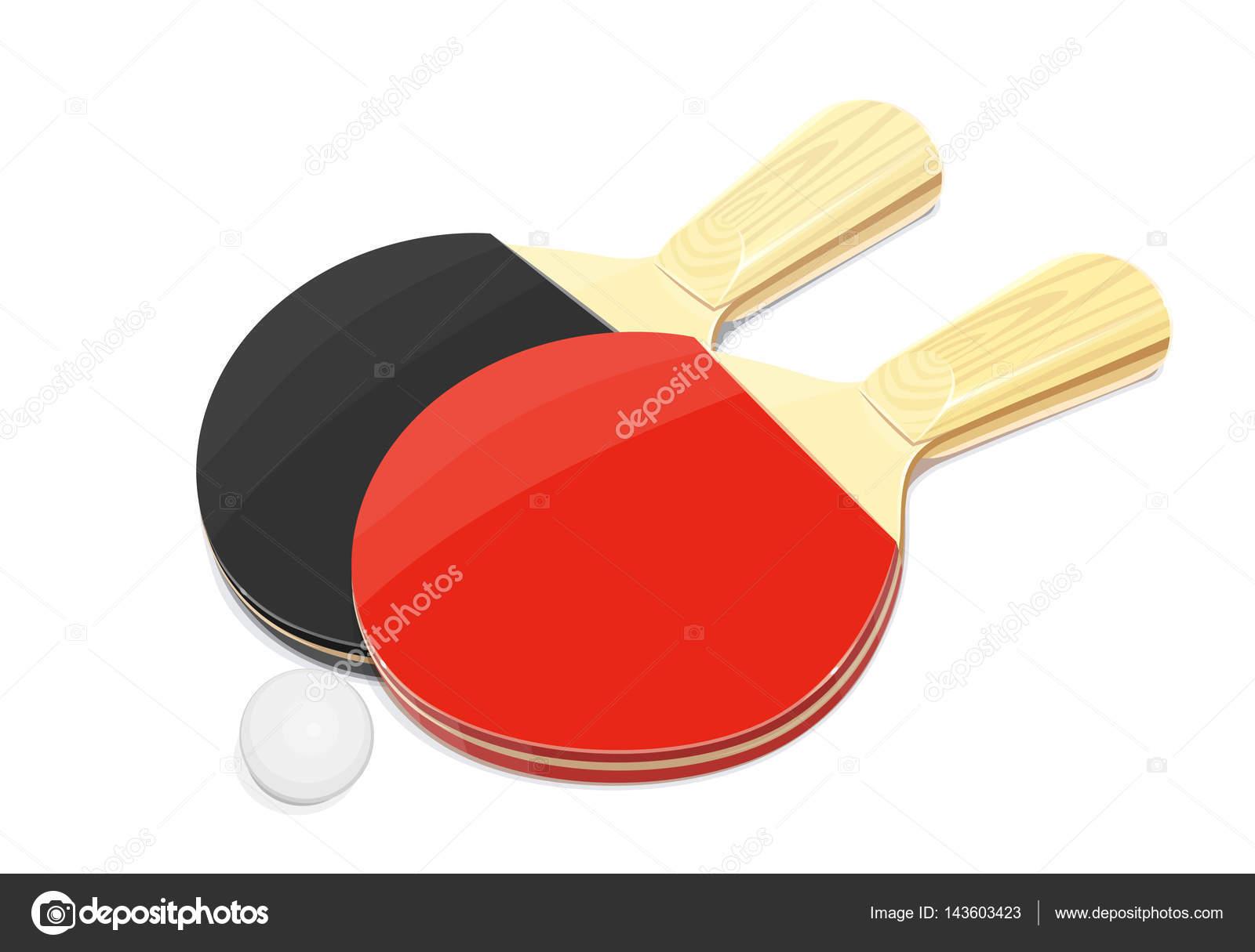 31b2e0159 Raquete de tênis de mesa e bola. Jogo de ping-pong do esporte. Equipamento  desportivo. Ilustração em vetor. Isolado de fundo branco — Vetor de ...