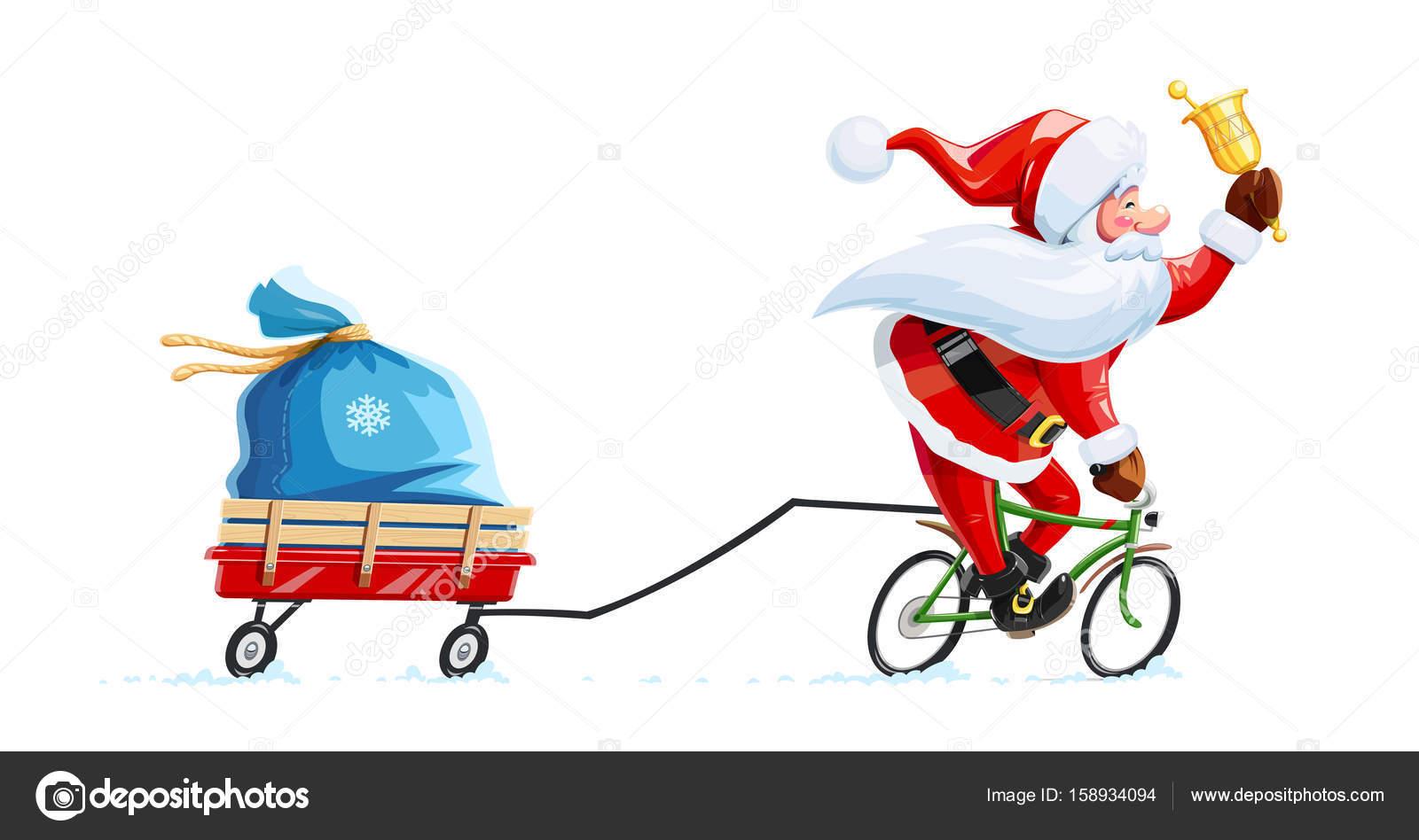 自転車のベルとサンタ クロースクリスマスの漫画の