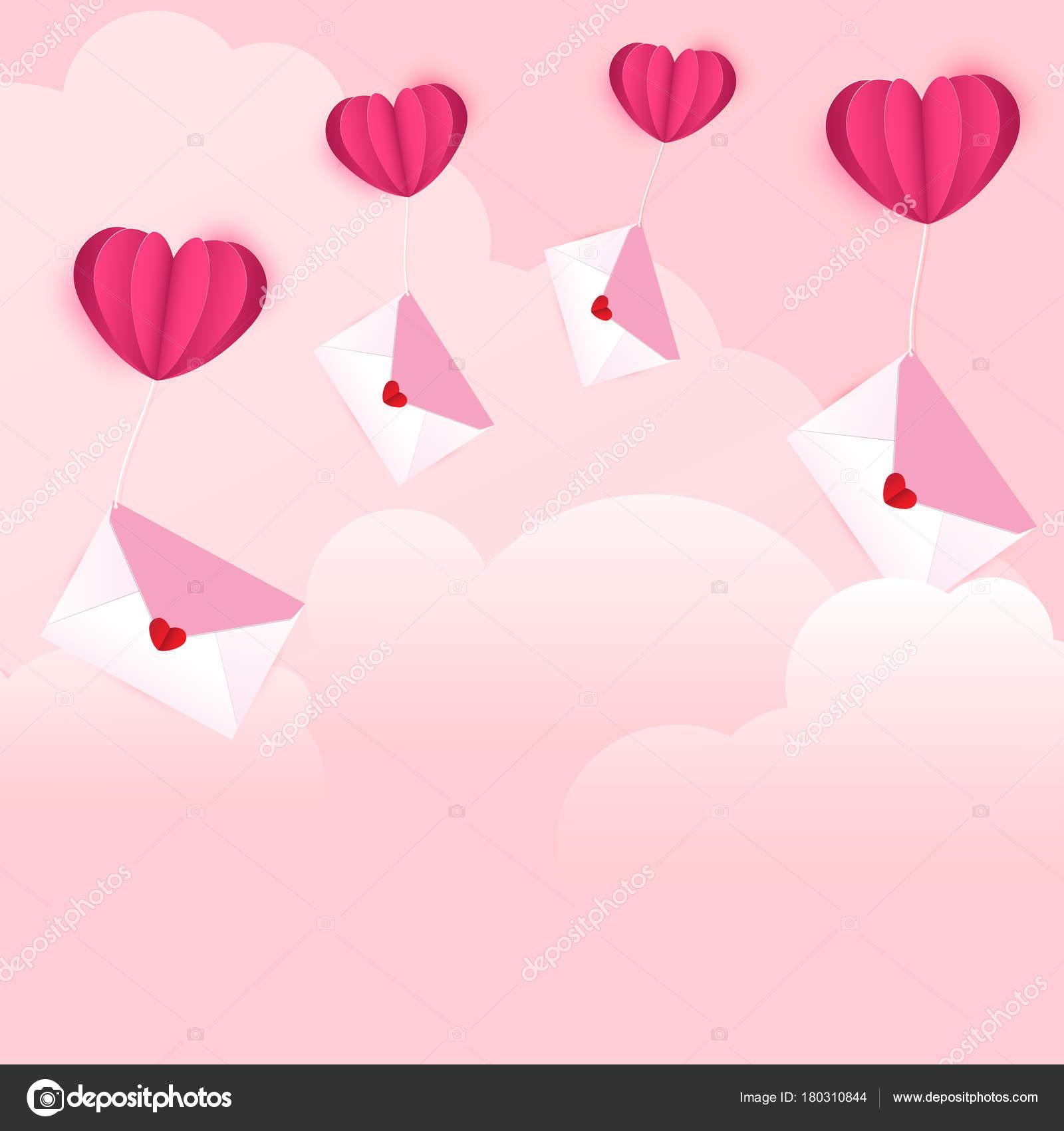 Vector Illustration Valentines Day Envelopes Heart Shaped Sticker
