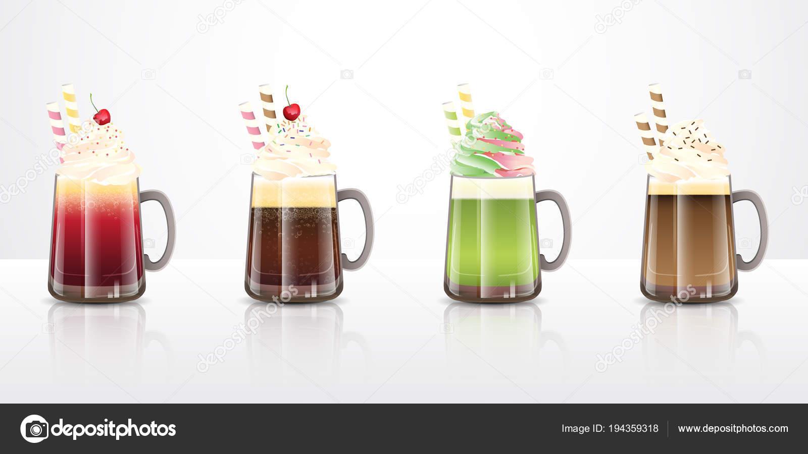 Sammlung Von Eis Schwimmer Getränke Rezepte Klarem Glas Tassen Ideen ...