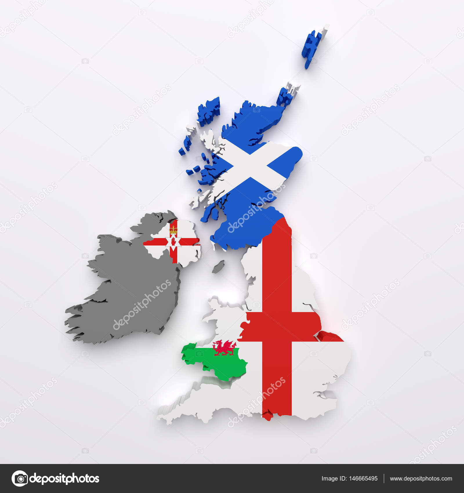 Uk countries map and flags — Stock Photo © erllre #146665495
