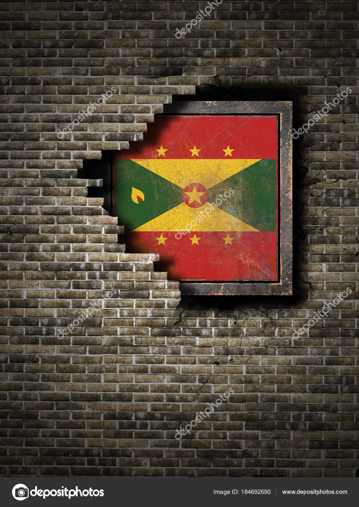 brick mailbox flag. 3d Rendering Of A Grenada Flag Over Rusty Metallic Plate Embebed On An Old Brick Wall \u2014 Photo By Erllre Mailbox