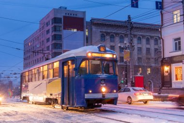 KHABAROVSK, RUSSIA - JANUARY 14, 2017: Old tram in the street of