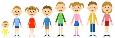 Children lining horizontally