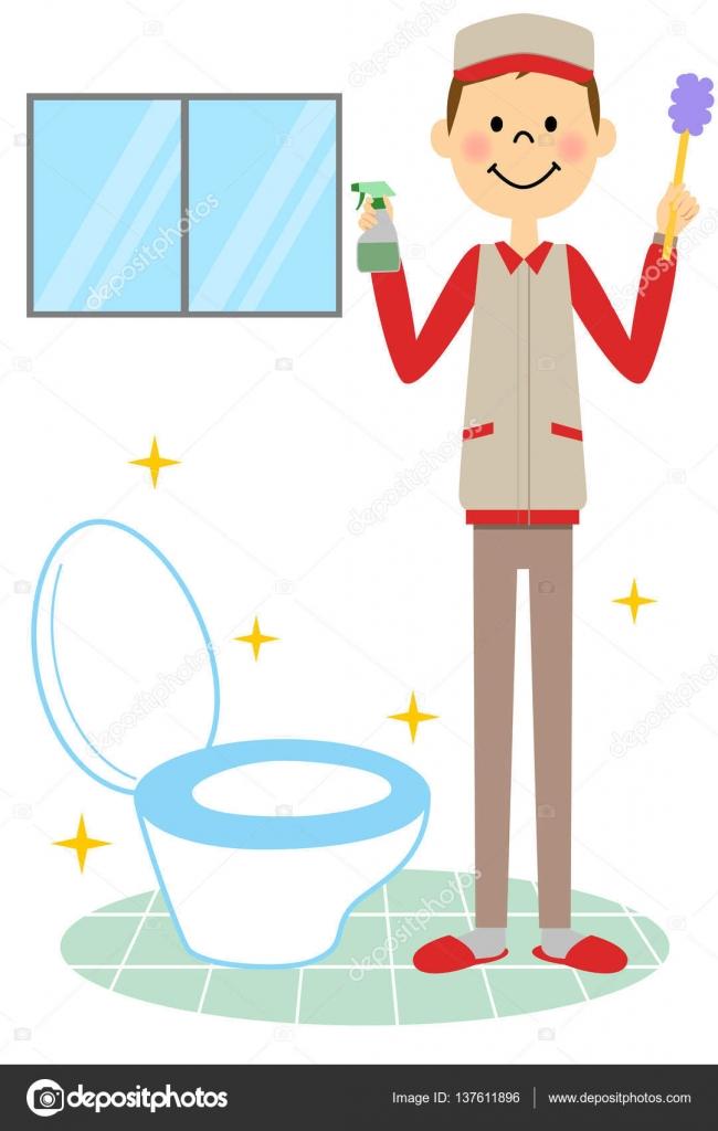El hombre que hace la limpieza de baños — Vector de stock ...