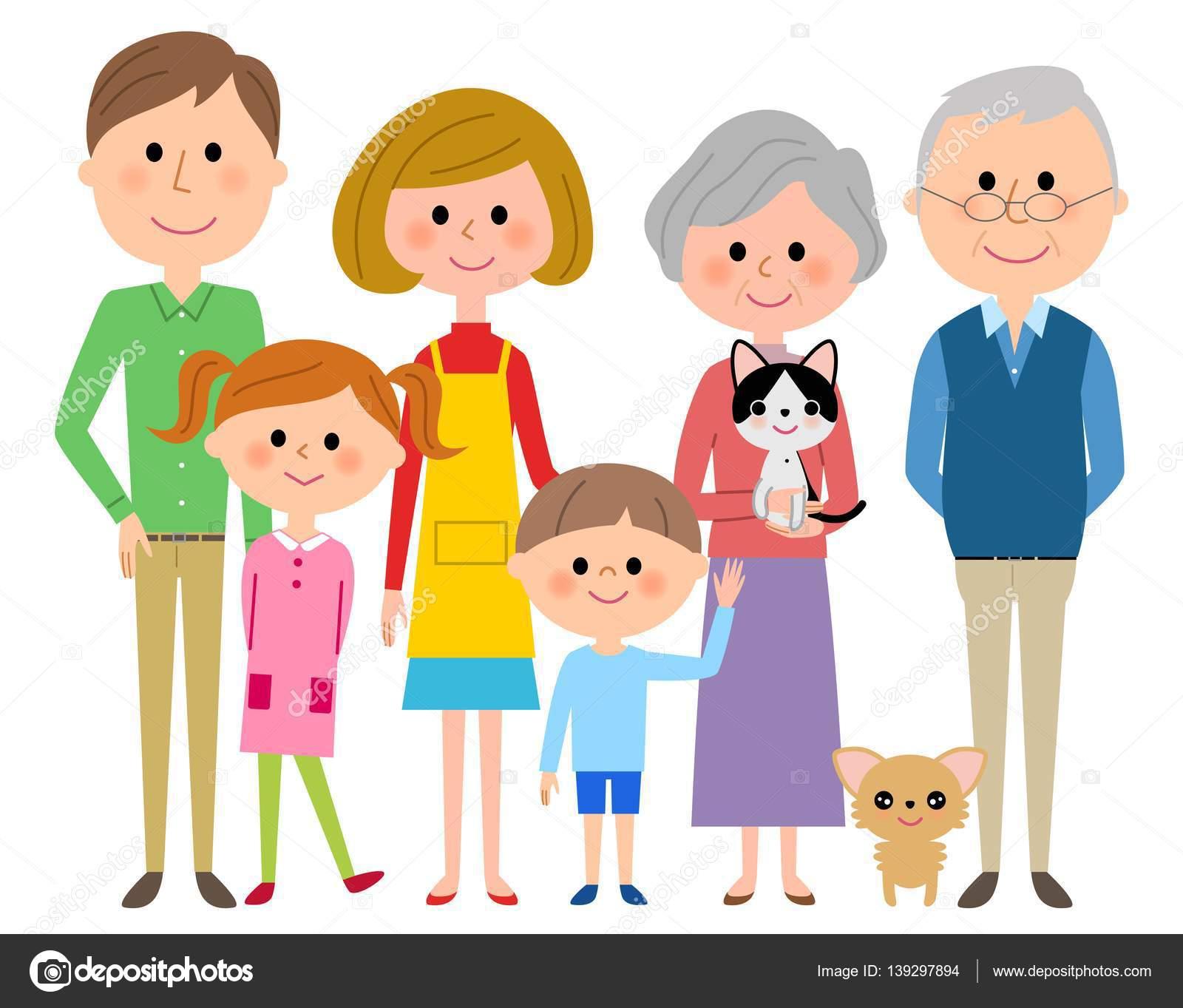 drei generationen familie und haustier stockvektor pet clipart art free pet clipart birthday