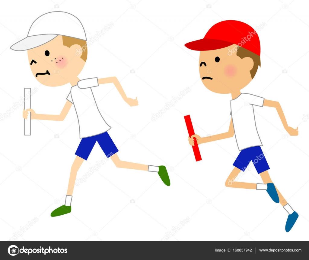 Bambino Che Corre Nella Staffetta Vettoriali Stock Studiolaut
