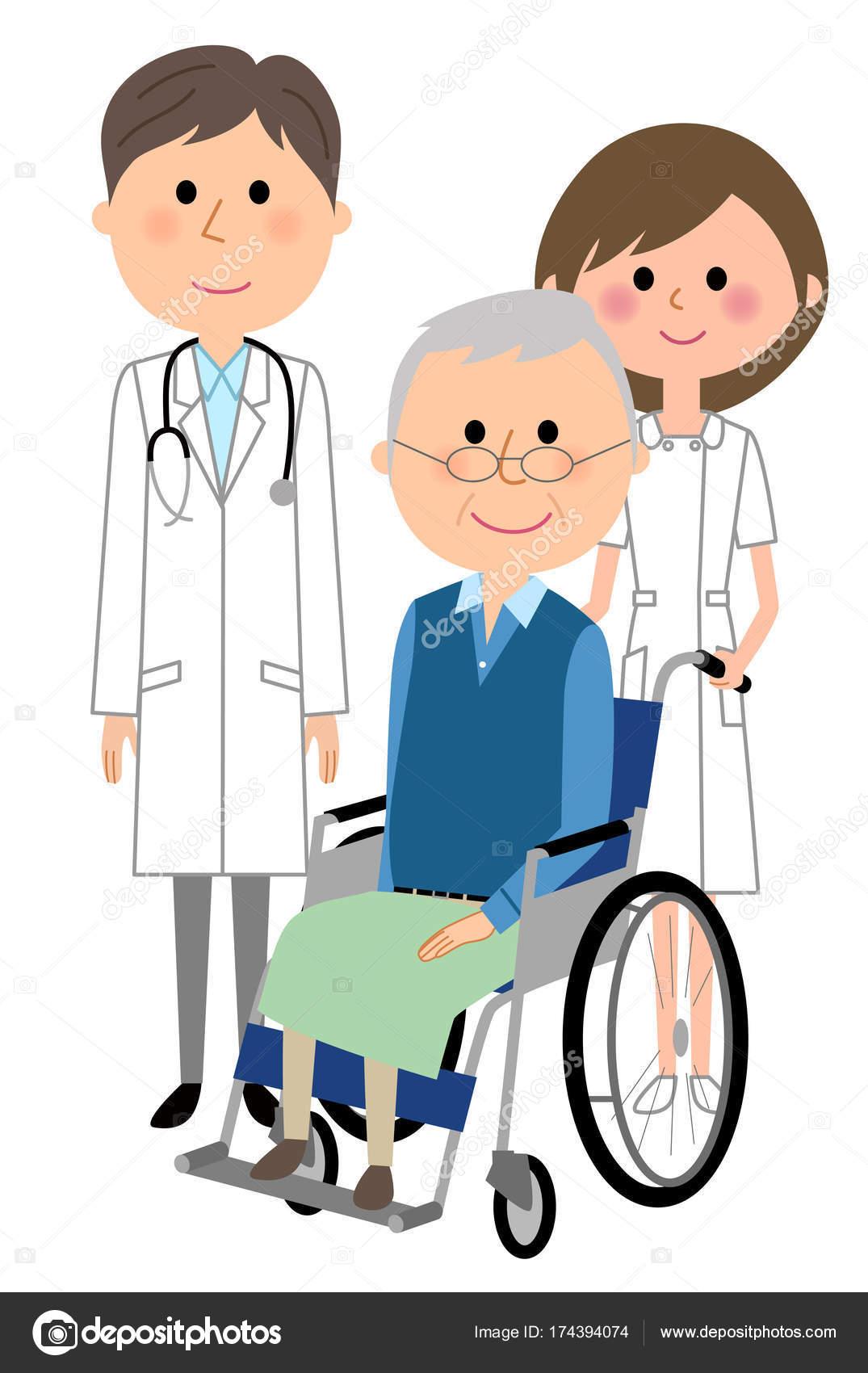 看護師 看護師 患者の患者 イラスト ストックベクター Studiolaut