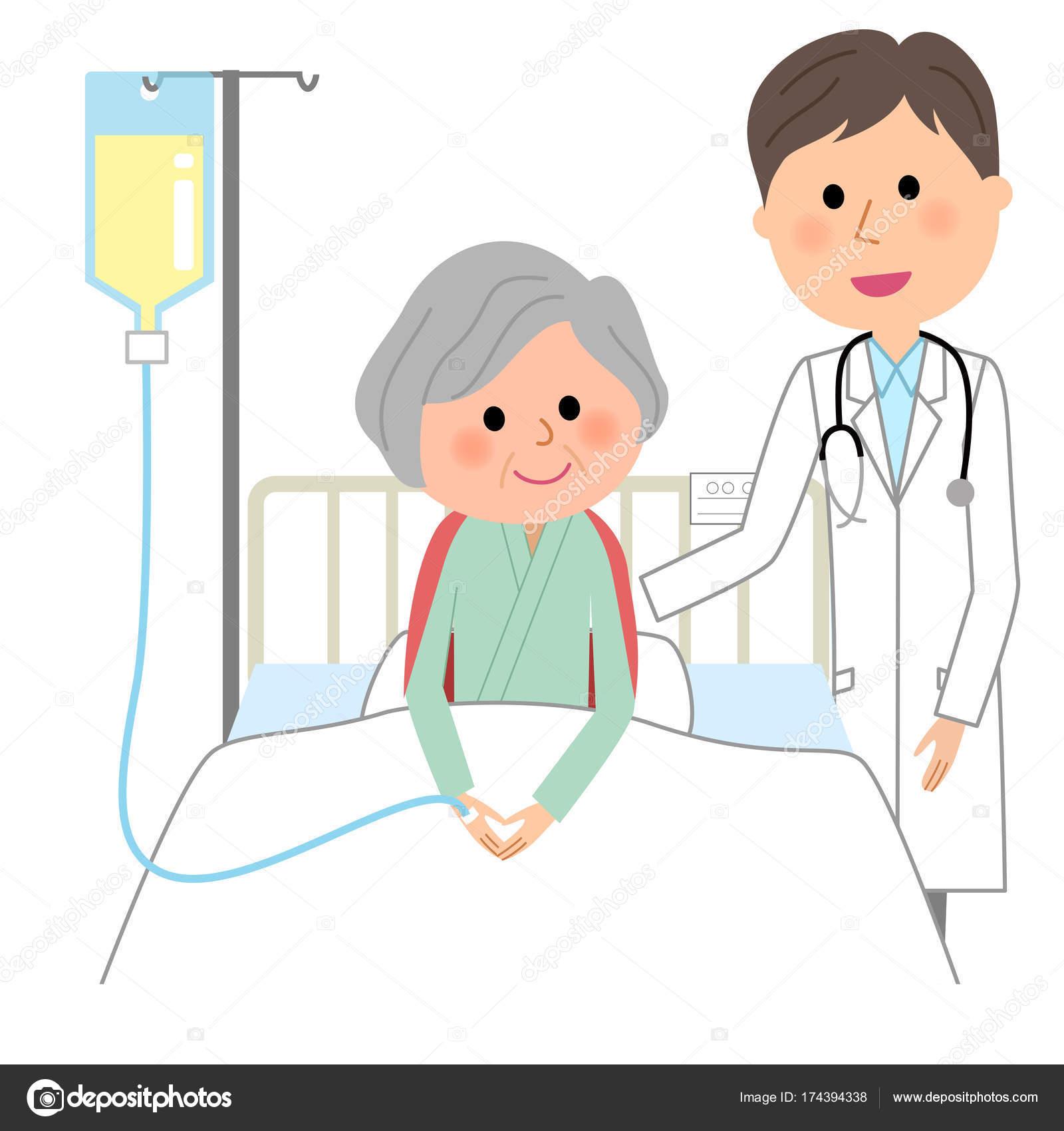 白人の男性コート 入院患者 白衣男性および入院患者のイラストです