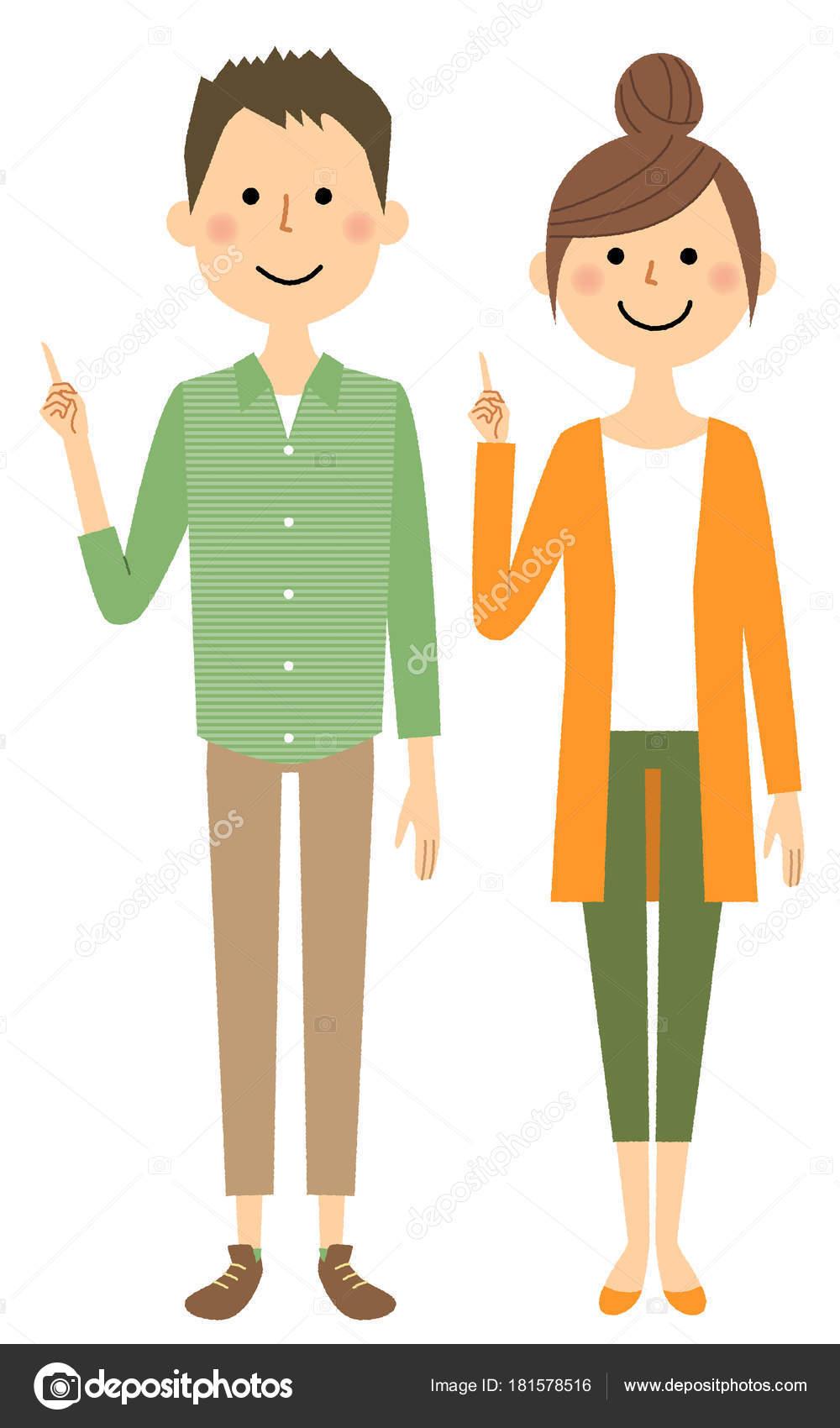 若いカップルは 指差し 指を指している若いカップルのイラスト