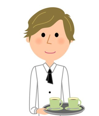 Cafe clerk, Waiter, To carry/Illustration of a waiter carrying beverages.