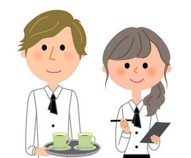 Cafe clerk, Waiter, Waitress, Colleagues/It is an illustration of waiter and waitress.