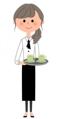 Cafe clerk, Waitress, To carry/It is an illustration of a waitress carrying drink.