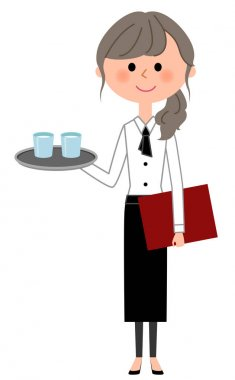 Cafe clerk, Waitress, To carry/It is an illustration of a waitress carrying water.