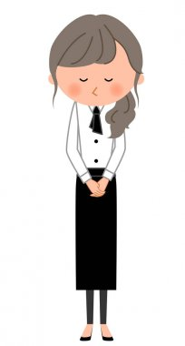 Cafe clerk, Waitress, Bow/It is an illustration of a waitress who bows.