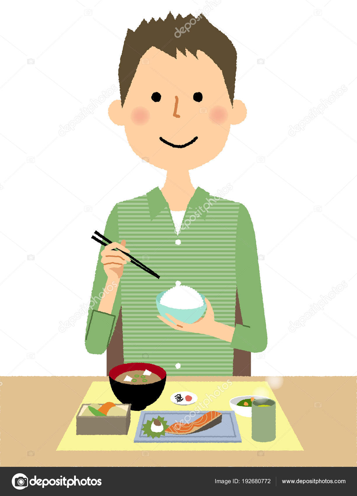 若い男 食事を食べる若い男のイラストです ストックベクター