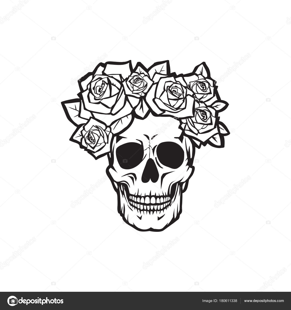 Cráneo Humano Con Rosas Blanco Y Negro Archivo Imágenes