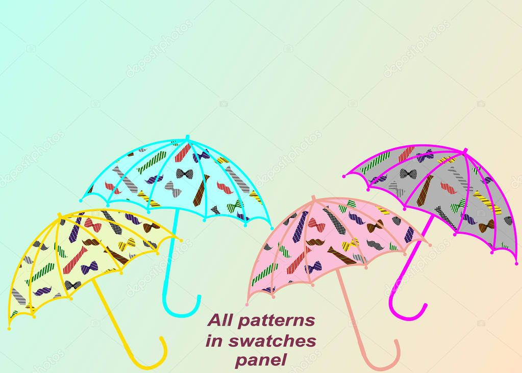 Seamless pattern of ties, men's bows and mustaches, located on u
