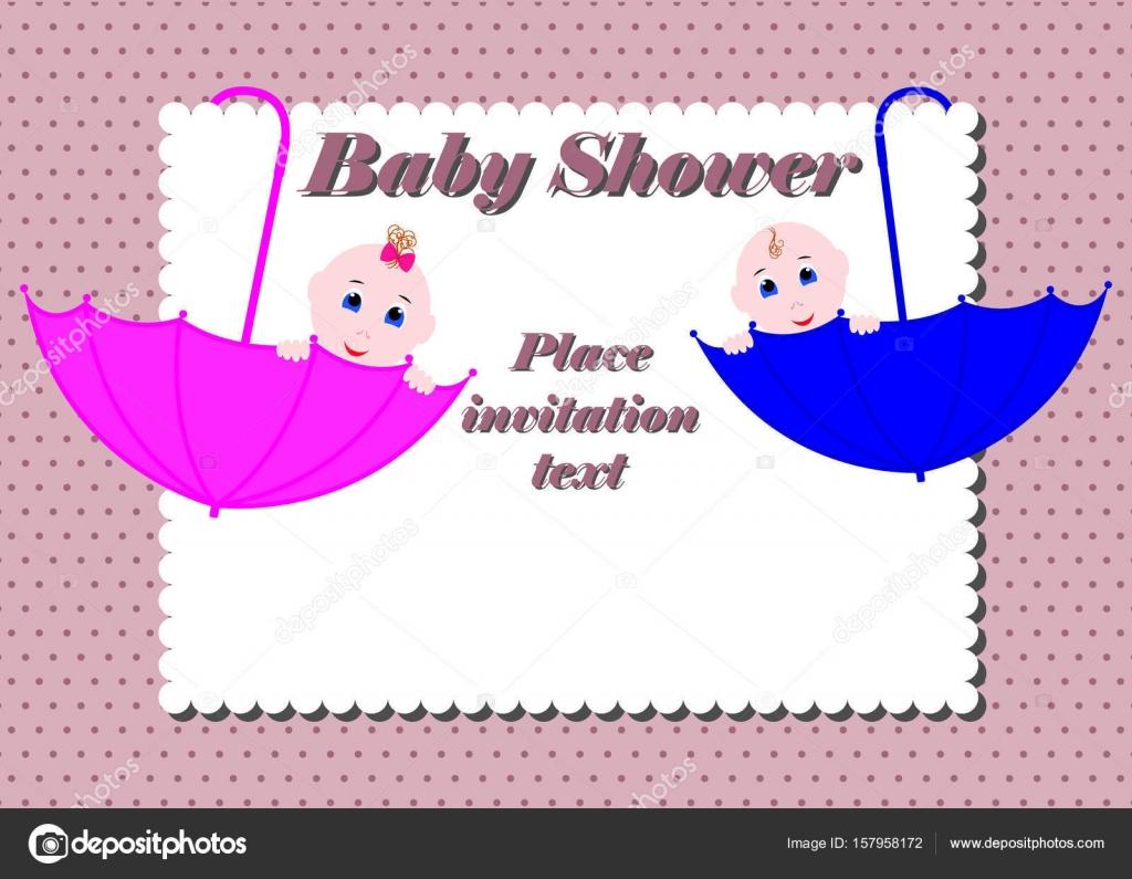 5702e1897f073 Tarjeta de invitación de la ducha de bebé. Lindo niño y una niña sentados en  paraguas. Diseño de invitación o tarjeta de felicitación para baby shower  ...