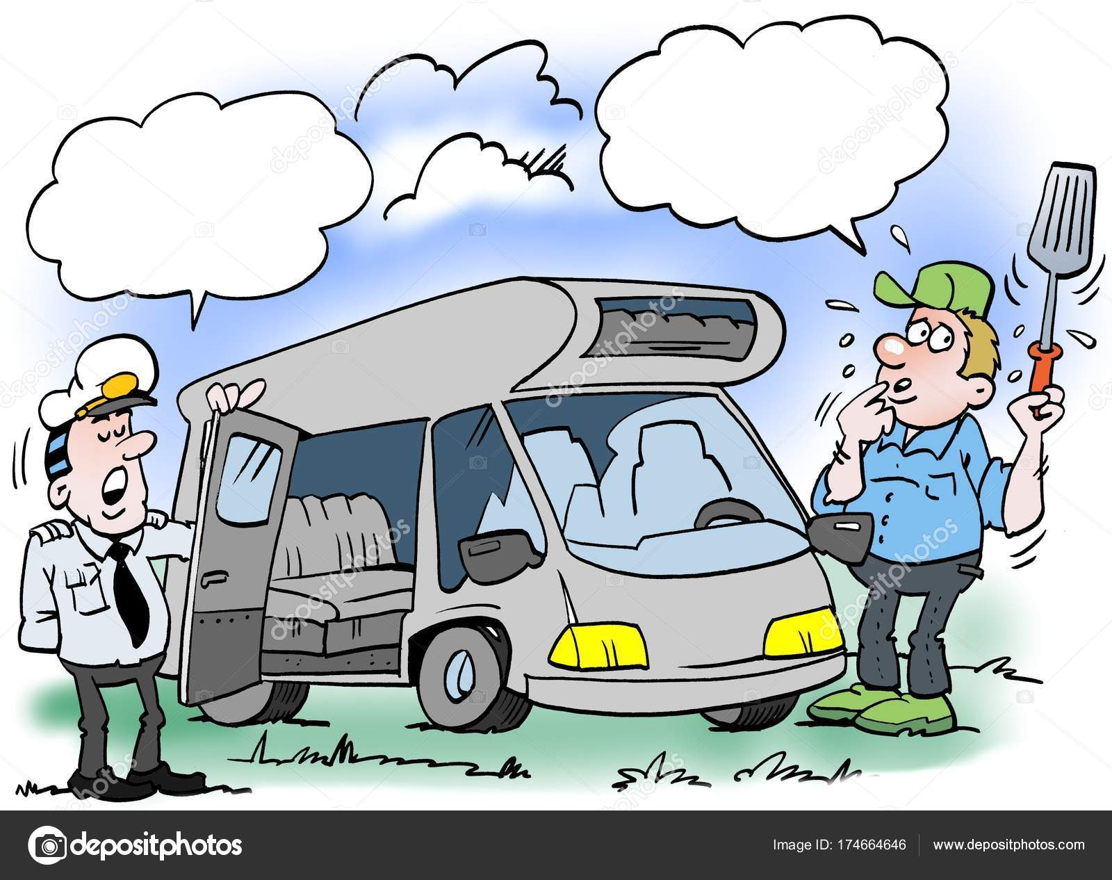 Cartoon illustration of a man who gets checked his camper 9