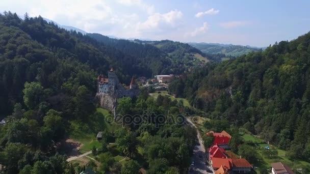 Aerial view of Bran, Dracula Castle, Bran Castle,rustling trees