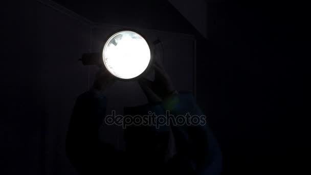 Bright light in the operating room. Preparation for gynecological surgery.