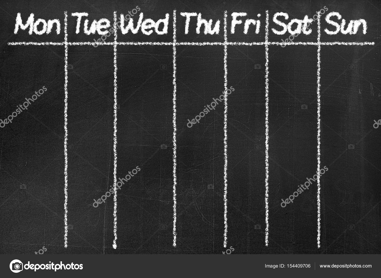 Blackboard With The Text Monday Tuesday Wednesday Thursday Friday Saturday
