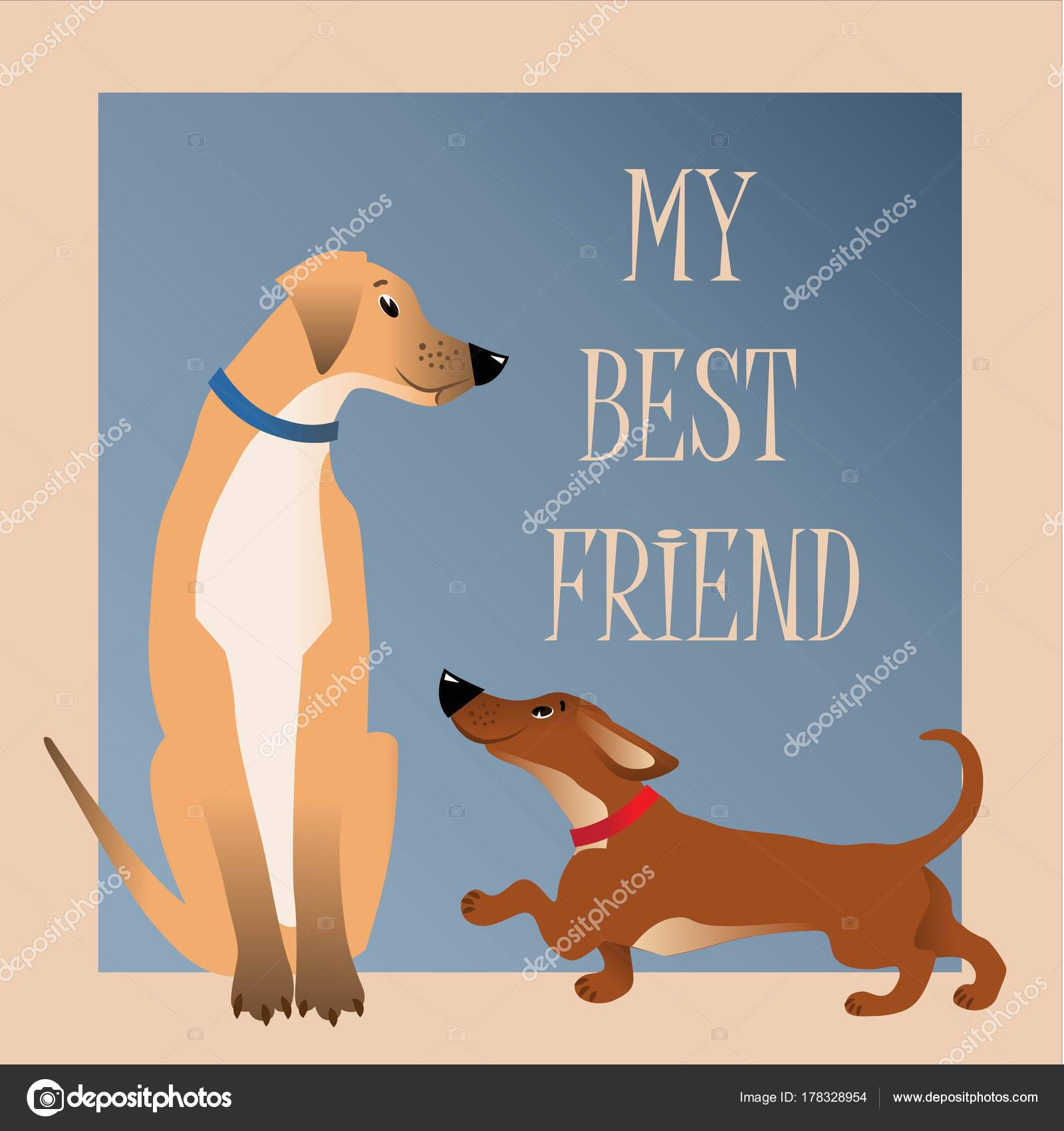 Card Two Cute Dogs Caption Best Friend Stock Vector Mklfg 178328954