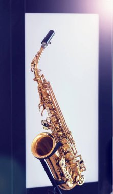 A man play with saxophone