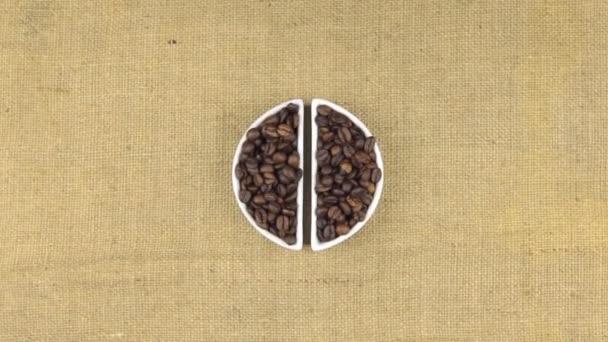 Zoom miska s kávová zrna a klásky pšenice, ležící na pytloviny
