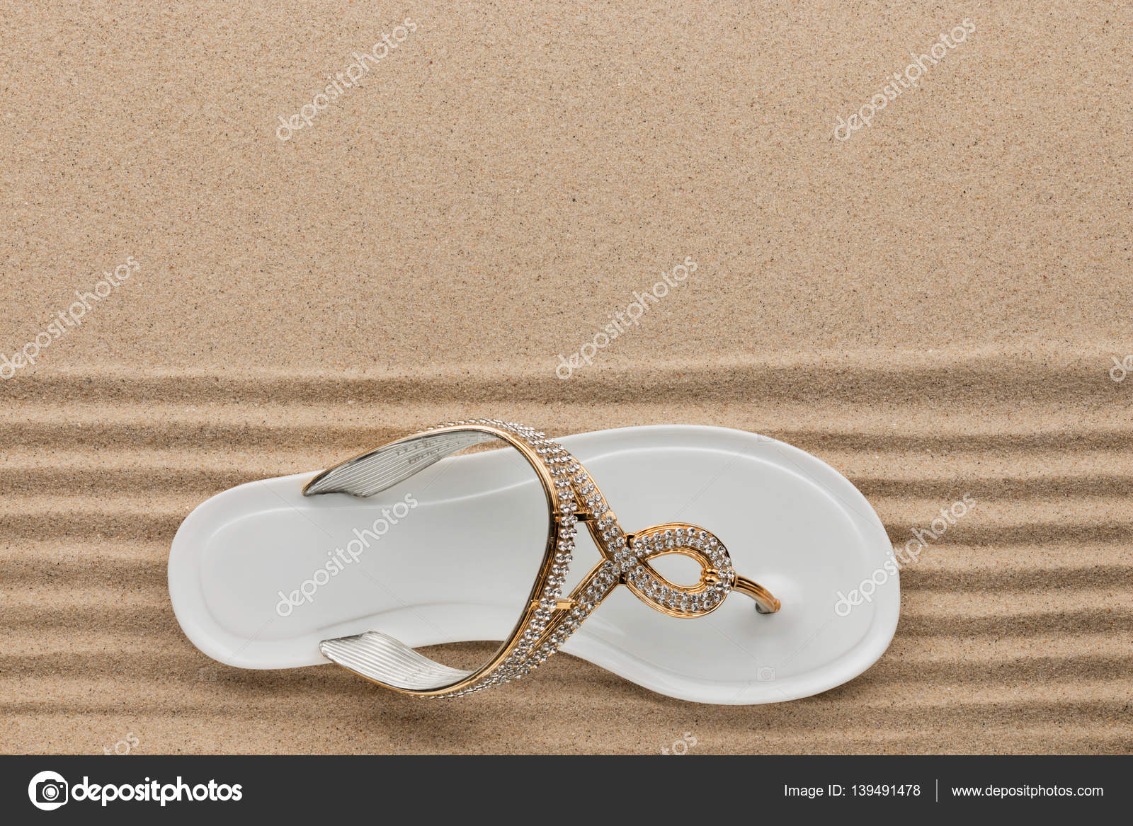 a87508d5dd83e Trendy white flip flops decorated with rhinestones
