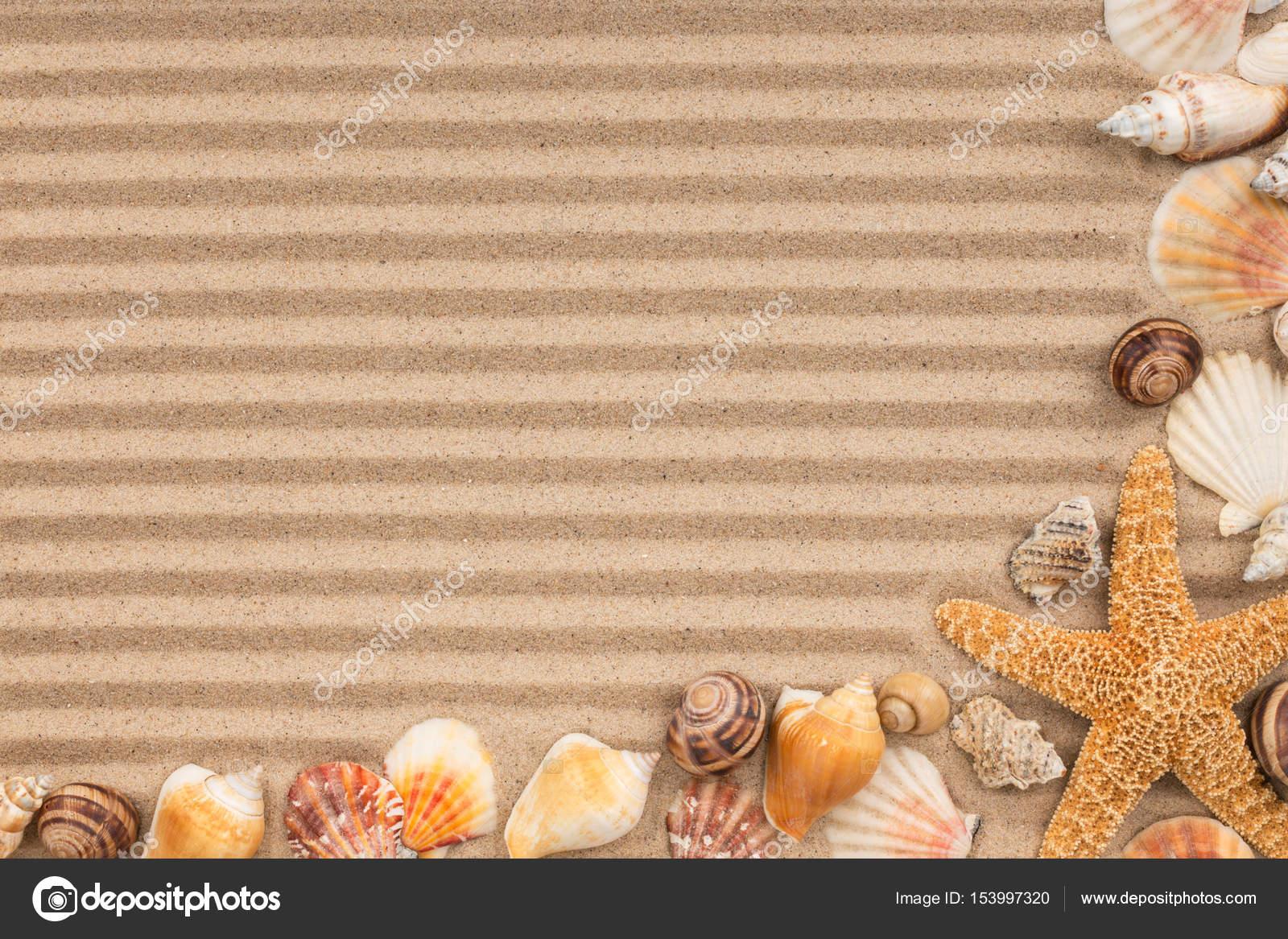 Marco de conchas y estrellas en la arena con bandas — Foto de stock ...