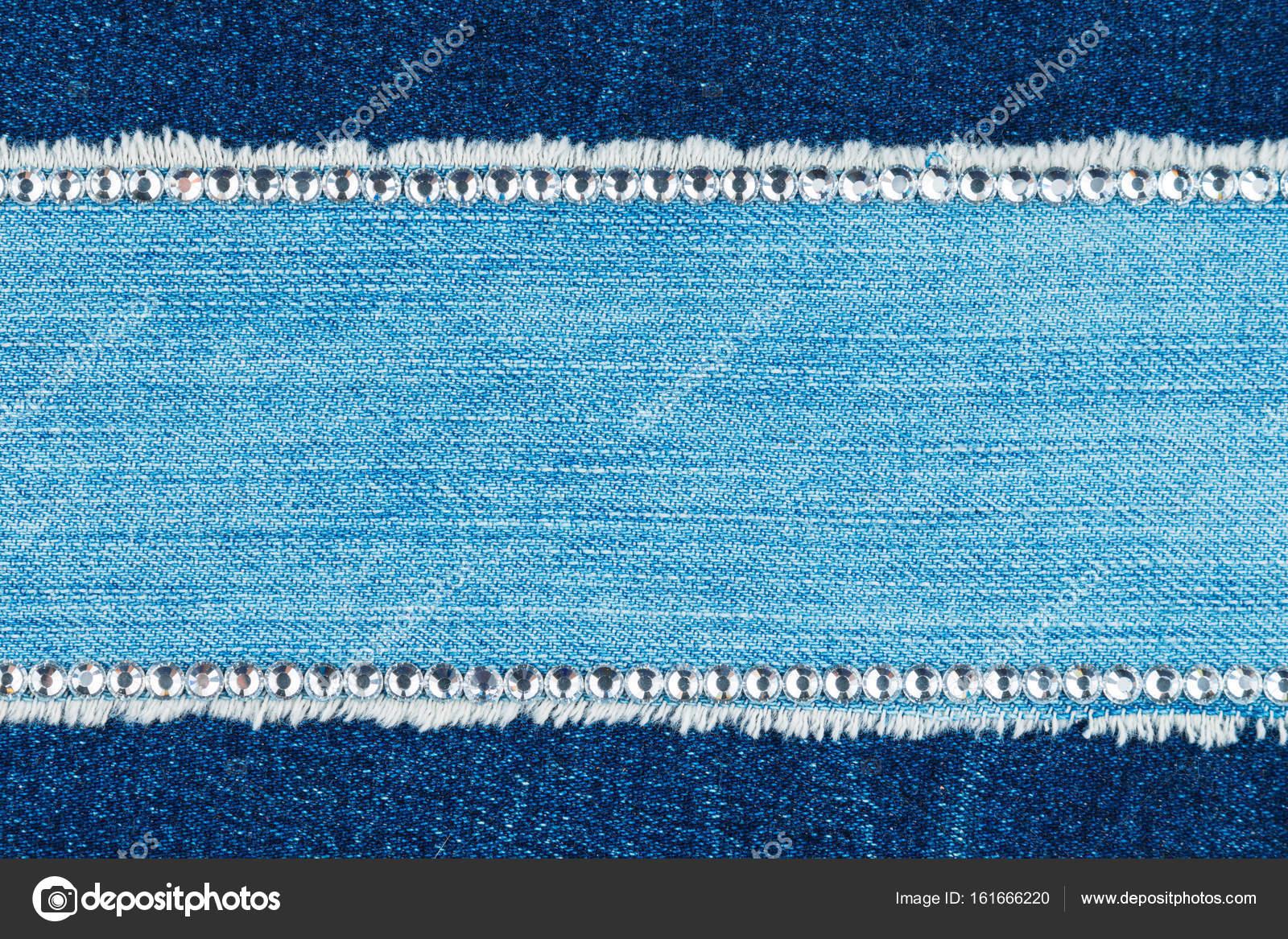 Marco de luz jeans está incrustada con diamantes de imitación, con ...