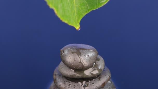 Drop protéká list a je incident na pyramidu z černých kamenů, stojící v modré vodě.