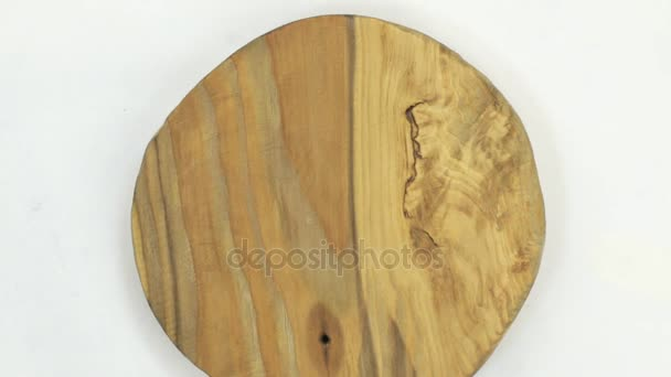 Close-up of the rotation of frame made of wood. Surface of wood background for design and decoration.