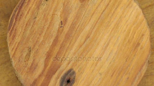 Detail, rotace dřevěný kruh.