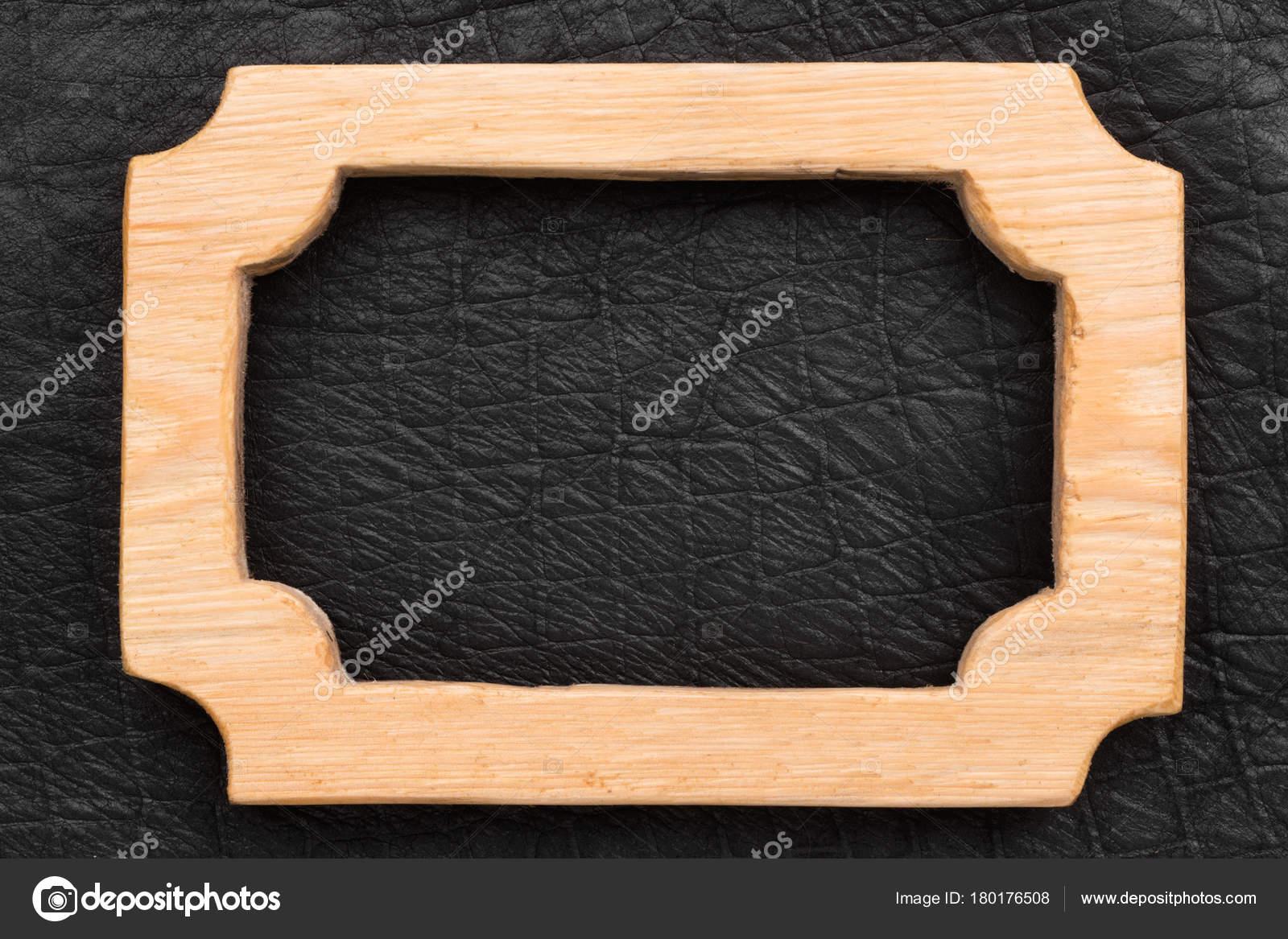 Marco de madera hermoso una pieza en cuero negro — Foto de stock ...