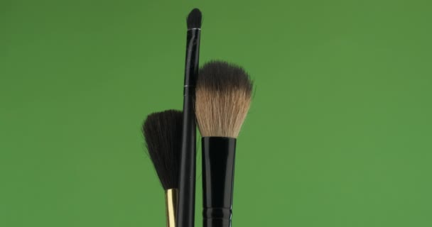 Close-up, rotation, set of a powder brush and rouge, on a green screen.