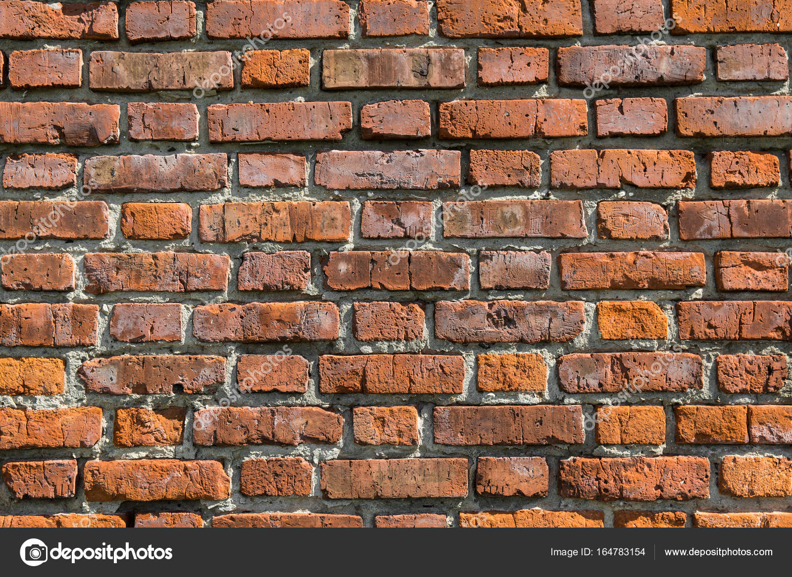 Red Brick Wall Texture Grunge Background With Vignetted Corners May