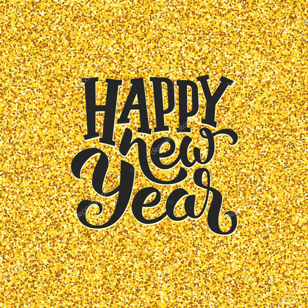 Happy New Year greetings on golden background