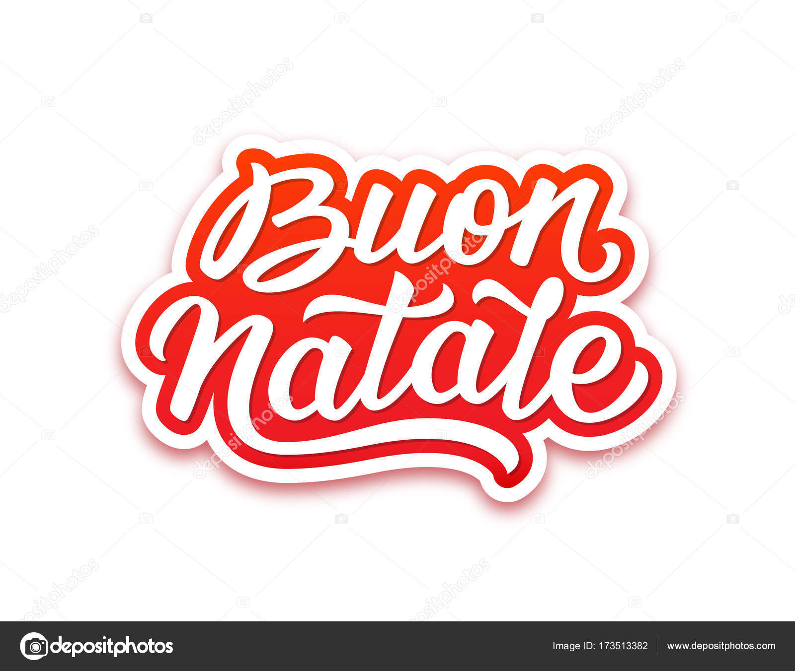 Merry Christmas Text In Italian Season Greetings Stock Vector