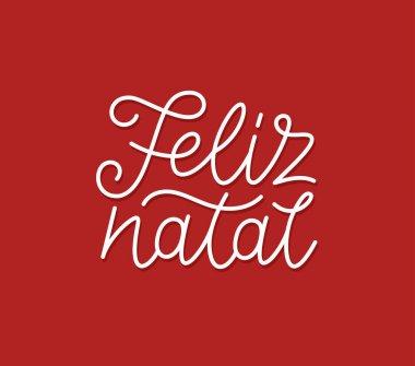 Feliz Natal calligraphic line art typography