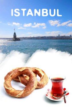 Maidens Tower, tea, bagel
