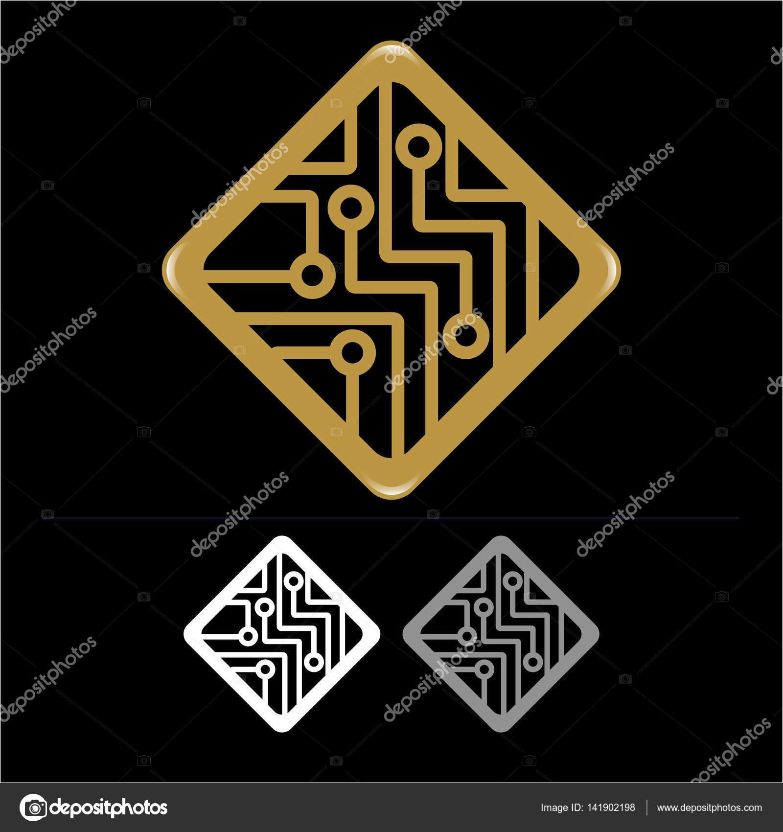 Computer und elektronische Schaltung Symbol — Stockvektor © CSKN ...