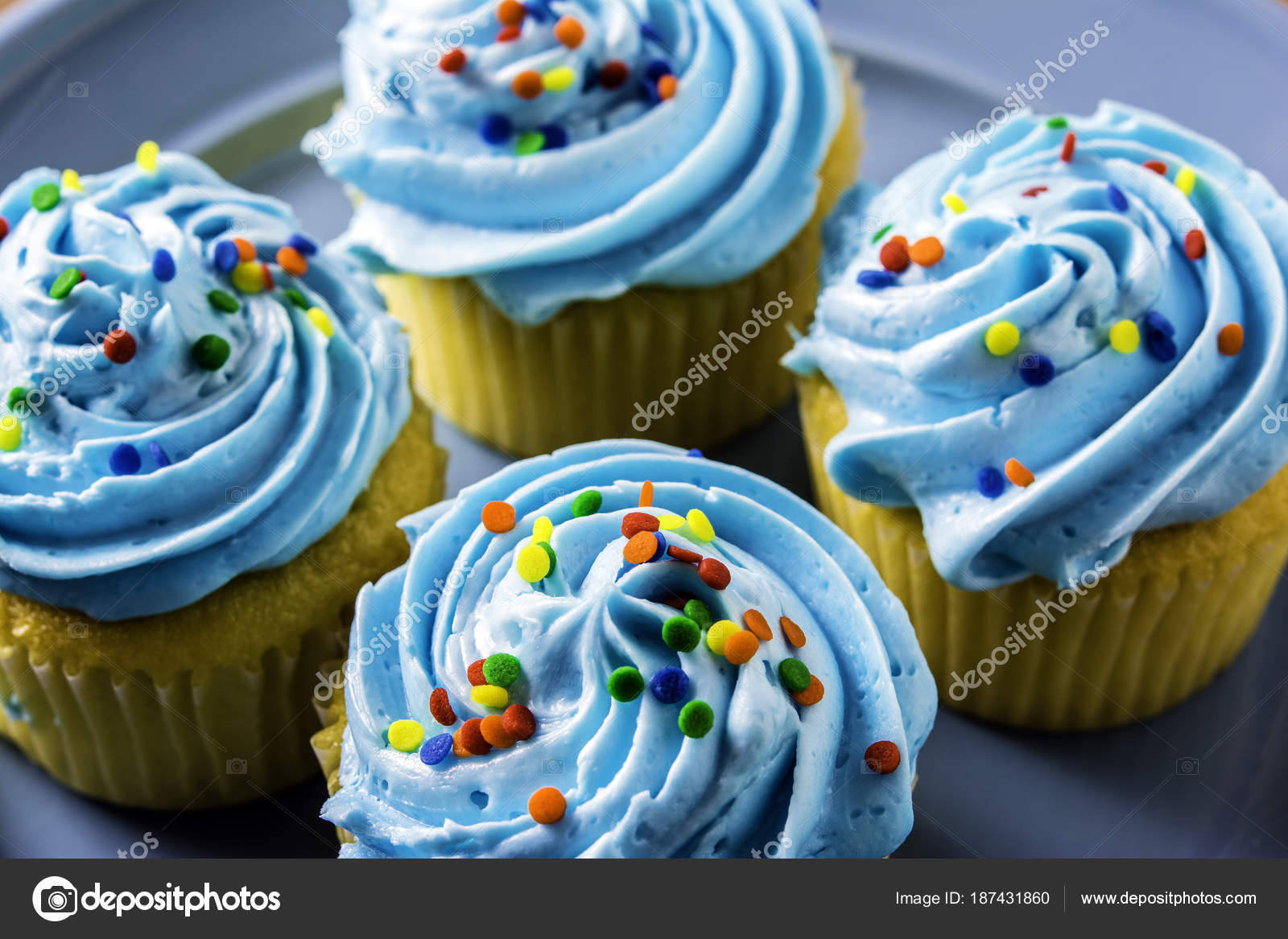 Blue and yellow cupcakes   Close Four Yellow Cupcakes Blue