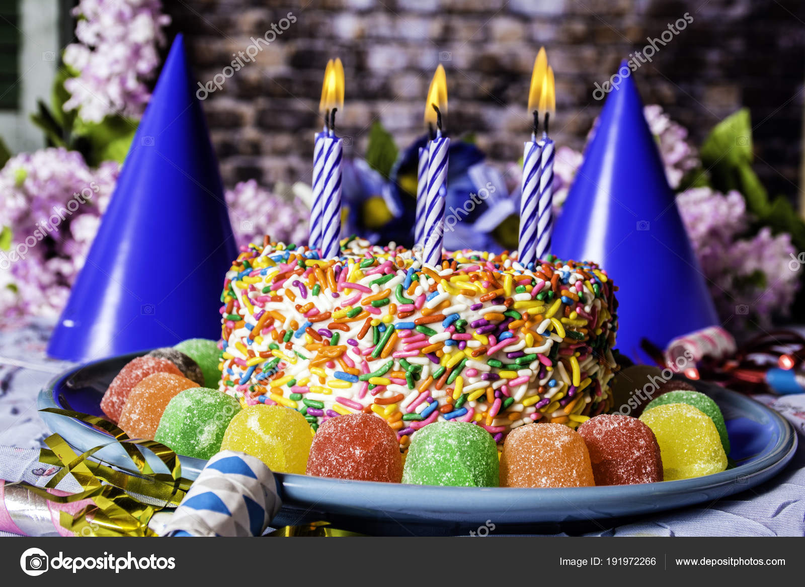 Birthday Cake Rainbow Sprinkles Blue Plate Surrounded Assorted