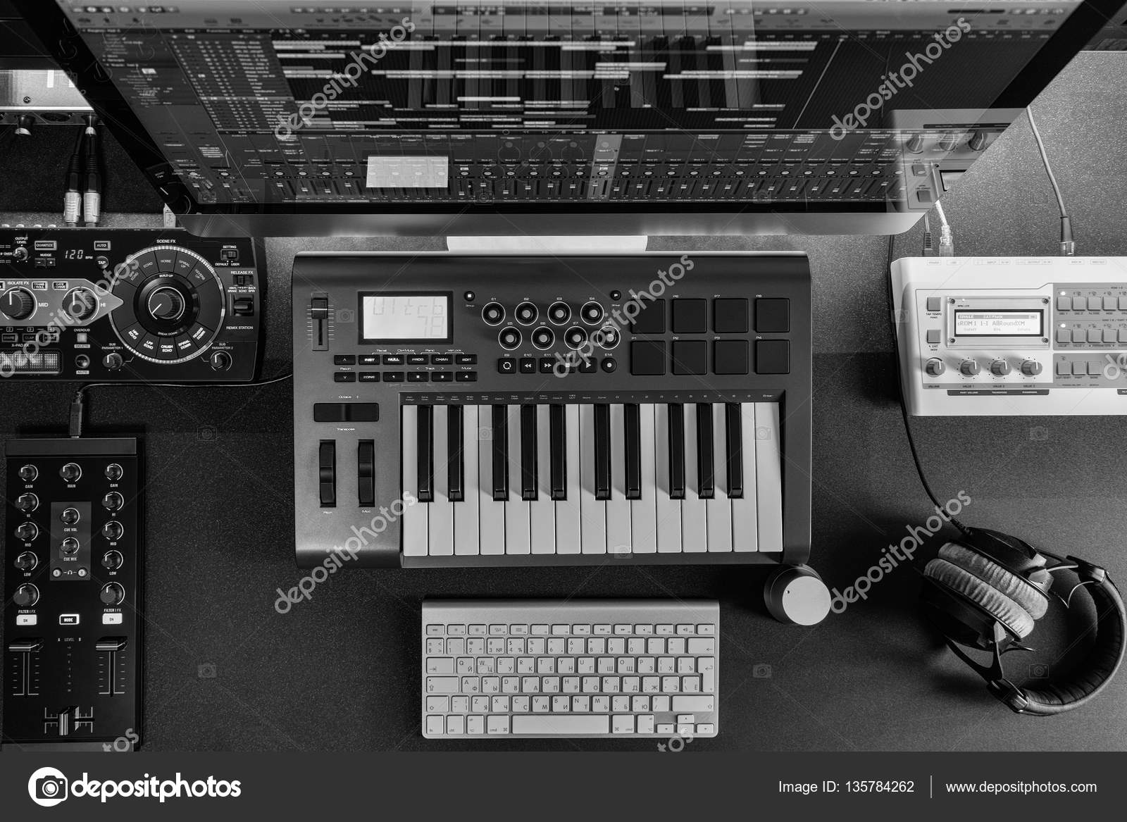 Flat Lay Home Music Studio Dj And Producer Equipment On The Black Table White Monochrome Image Photo By Drablenkov